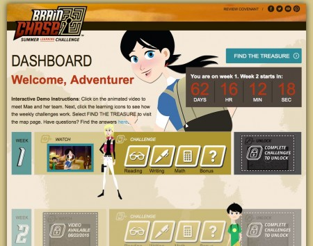 The Brain Chase Student Dashboard tracks adventurers' online academic work through curriculum partners' sites.